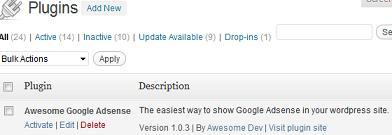 Activate Awesome Google Adsense WordPress Plugin