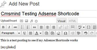 Add Adsense Shortcode into Post
