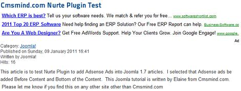 joomla 17 nurte google adsense article test How to Add Adsense to Joomla 1.7 Articles with Nurte Google Adsense