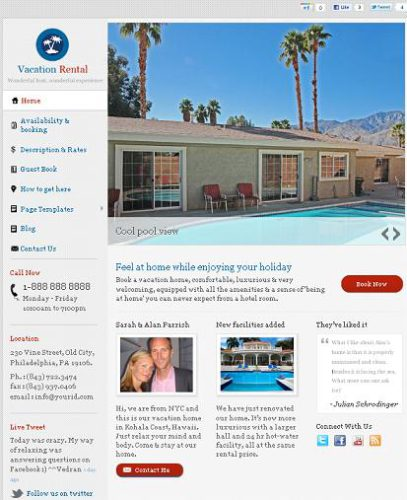 Vacation Rental WordPress Template