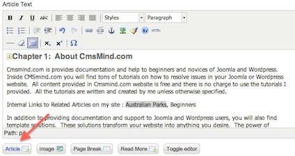 Joomla 17 insert link to article 2 Joomla 1.7 Help   Creating an Internal Link in an Article