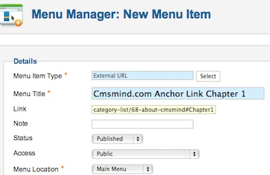 Joomla 1.7- New Menu Item with Link to Article Anchor