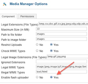 joomla 17 enable flash uploader 1 Joomla 1.7 Help   Media Manager Flash Uploader Not Working