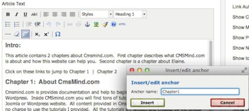 joomla 17 insert edit anchor article 1 Joomla 1.7 Help   How to add Links Inside your Joomla Article