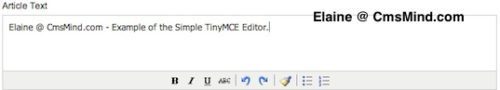 cmsmind elaine joomla 17 tinymce editor simple 1 Joomla 1.7.3 Tutorial   How to Enable the Extended Tiny MCE Editor