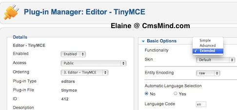 cmsmind elaine plugin manager tinymce functionality 4 Joomla 1.7.3 Tutorial   How to Enable the Extended Tiny MCE Editor
