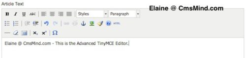 cmsmind elaine tinymce editor advanced 2 Joomla 1.7.3 Tutorial   How to Enable the Extended Tiny MCE Editor