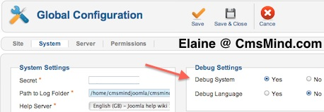 cmsmind joomla elaine enable debug 1 Joomla 1.7 Tutorial   How to Enable & Disable Debug Mode
