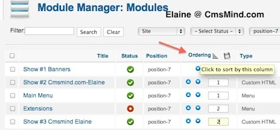 Joomla 1.7 - Click on 'Ordering' To Sort the Column