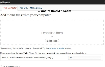 cmsmind wordpress elaine insert upload media 1 A Review of Wordpress 3.3 Changes so far...