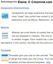 cmsmind elaine subcategories images 1 Joomla 1.7 Help   How to Display Subcategories with Descriptive Images