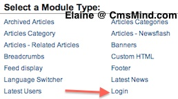 cmsmind joomla select new module 3 Joomla 1.7 Help   How to Show Welcome (name) With Logout Button