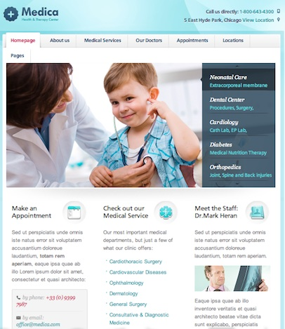 wordpress medical appointments website 1 Create a Medical Website with Medica Wordpress Theme