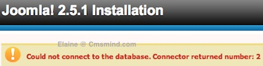 cmsmind dreamhost joomla25 db connect error 1 Joomla 2.5.1 Installation Error   Could not connect to the database.  Connector returned number:2