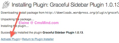 Wordpress Plugin - Activate Graceful Sidebar Plugin