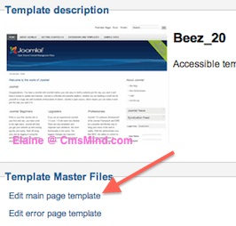 cmsmind elaine joomla25 change footer 4 Joomla 2.5 Tutorial   How to Remove the Close Info Open Info in Beez 20