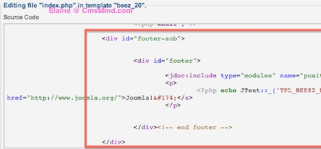 cmsmind elaine joomla25 change footer 5 Joomla 2.5   How to Remove Footer   Powered by Joomla
