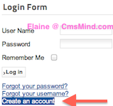 cmsmind elaine joomla25 hide create account 1 Joomla 2.5 Tutorial   How to Hide User Registration Form