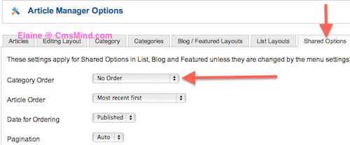 Joomla 2.5 - Shared Options Set No Category Order
