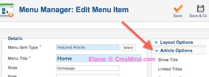 Joomla 2.5 - Expand Article Options in Default Menu Item