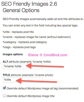 Wordpress Plugin - SEO Friendly Images Settings