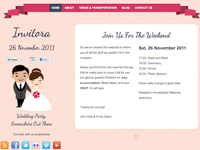 wedding website announcement invitora wordpress theme 1 Cost to Make Wedding Invitation Website With Invitora