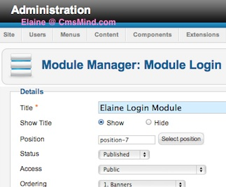 Joomla 2.5 - Configure New Login Module in Module Manager