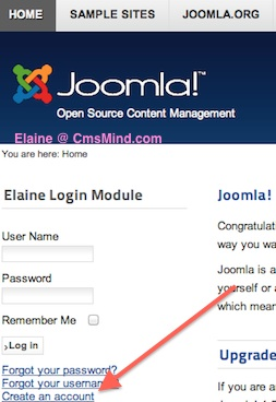 Joomla 2.5 - Create an Account in Joomla website