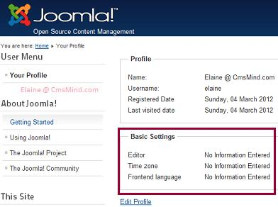 Joomla 2.5 - Edit Profile Displays Basic Settings