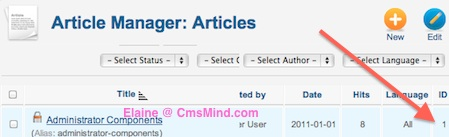 Joomla 2.5 - Find the Article ID in Article Manager