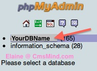 Joomla 2.5 - Click on your Database Name in phpMyAdmin