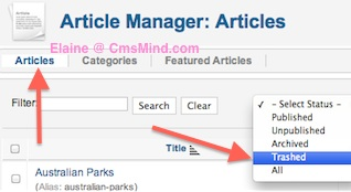 cmsmind joomla 2 5 trash manager 1 Joomla 2.5 Tutorial   Where is the Trash Manager?