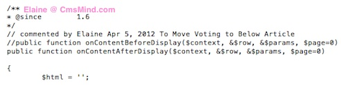cmsmind joomla 2 5 move vote below article 3 Joomla 2.5 Tutorial   How to Move Article Rating Voting to Bottom of Article