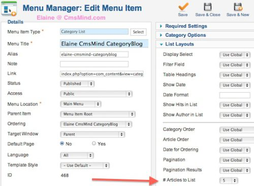 cmsmind joomla elaine change number articles category list menu item 2 Joomla 2.5 Tutorial   Change Number of Articles to Display in Category List Menu Item