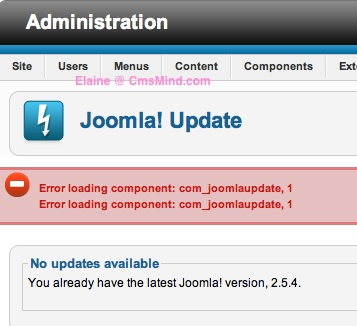 cmsmind joomla update now error 5 Joomla 2.5 Error  1   An error has occurred . Copy failed