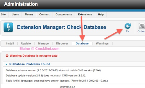 Joomla 2.5 - Fix the Database in Extensions Manager Databases