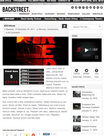 wordpress review themes backstreet 2012 Wordpress Review Themes perfect to create Rating Reviews Website 2012