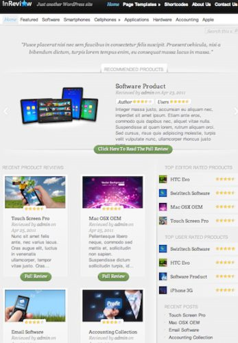 wordpress review themes inreview 2012 Wordpress Review Themes perfect to create Rating Reviews Website 2012
