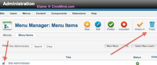 Joomla 2.5 - Delete 'Site Administrator' link from Main Menu