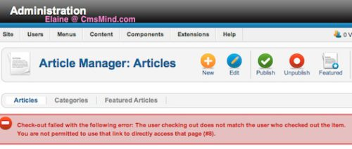 cmsmind joomla 2 5 checkout error 1 Joomla 2.5 Errors   Check out failed with the following error