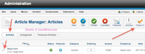cmsmind joomla 2 5 checkout error 2 Joomla 2.5 Errors   Check out failed with the following error