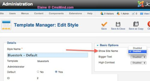 cmsmind joomla show site title administrator 4 Joomla 2.5 Tutorial   How to Add Site Title to Administrator Bar