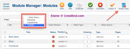 cmsmind joomla 2 5 banners deleted empty trash Joomla 2.5 Tutorial   How to Remove Contribute!, Books!, Shop! Banners