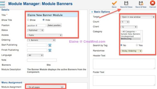 cmsmind joomla 2 5 create new banner module 2 Joomla 2.5 Tutorial   How To Add Banners To Website