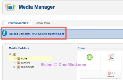 cmsmind joomla 2 5 insert PDF file in Article 3 Joomla 2.5 Tutorials   How to Add Link to a PDF File in Joomla