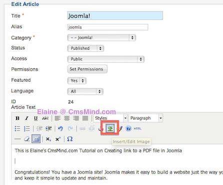 cmsmind joomla 2 5 insert PDF file in Article 4 Joomla 2.5 Tutorials   How to Add Link to a PDF File in Joomla