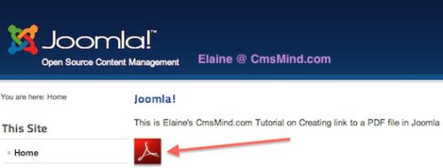 cmsmind joomla 2 5 insert PDF file in Article Joomla 2.5 Tutorials   How to Add Link to a PDF File in Joomla