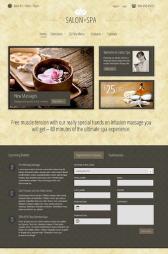 joomla spa salon massage appointment template salonnspa 1 Cost to Create an Appointment Booking Website with Joomla 2.5 Spa n Salon