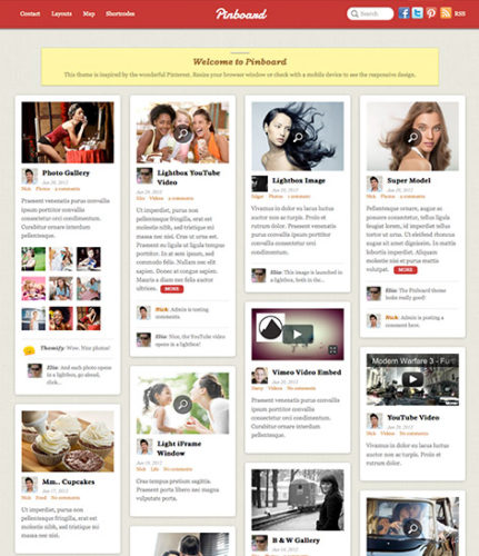 Pinterest Clone - WordPress Theme Pinboard