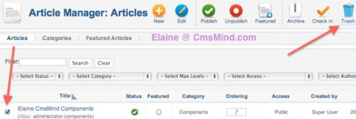 cmsmind elaine joomla 2 5 delete article Joomla 2.5 Tutorial   How to Delete an Article